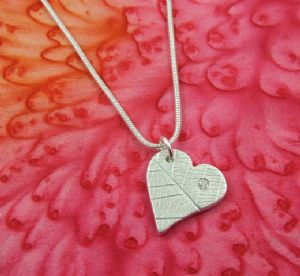 Curly Heart Leaf Pendant with CZ
